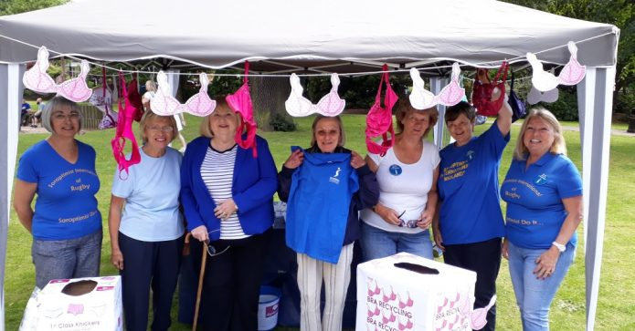 July 2017 SI Rugby at event in the park collecting 1st class knickers and 2nd hand bras