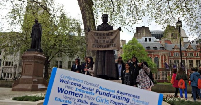 July 2018 - Tunridge Wells - their postcard at the Millicent Fawcett statue in Parliament Square