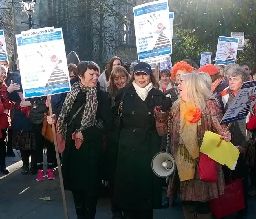 Joan Collins joined the group with her daughter marching through Bristol