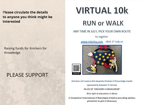 poster for virtual run to raise funds for Knickers for Knowledge charity