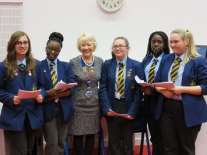 President Lynne with Bilston Academy girls who took part in the competition