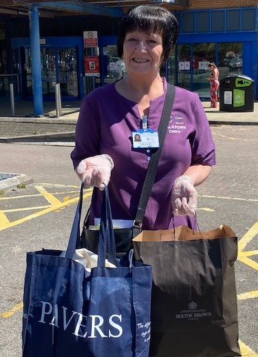 Taking delivery of Scrubs bags at Princess of Wales Hospital Bridgend