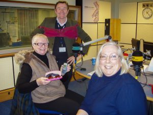 Diane and Sue in the Radio Derby Studio with presenter Andy Twigg