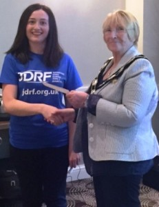President Ann presents a cheque for £1,123, the proceeds of the concert held on 21 May, to Miranda Burdett for JDRF - Juvenile Diabetes Research Foundation.