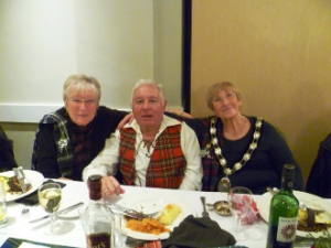 President Ann with Dot Hunter from SI Malta and Bill Hunter who addressed the haggis