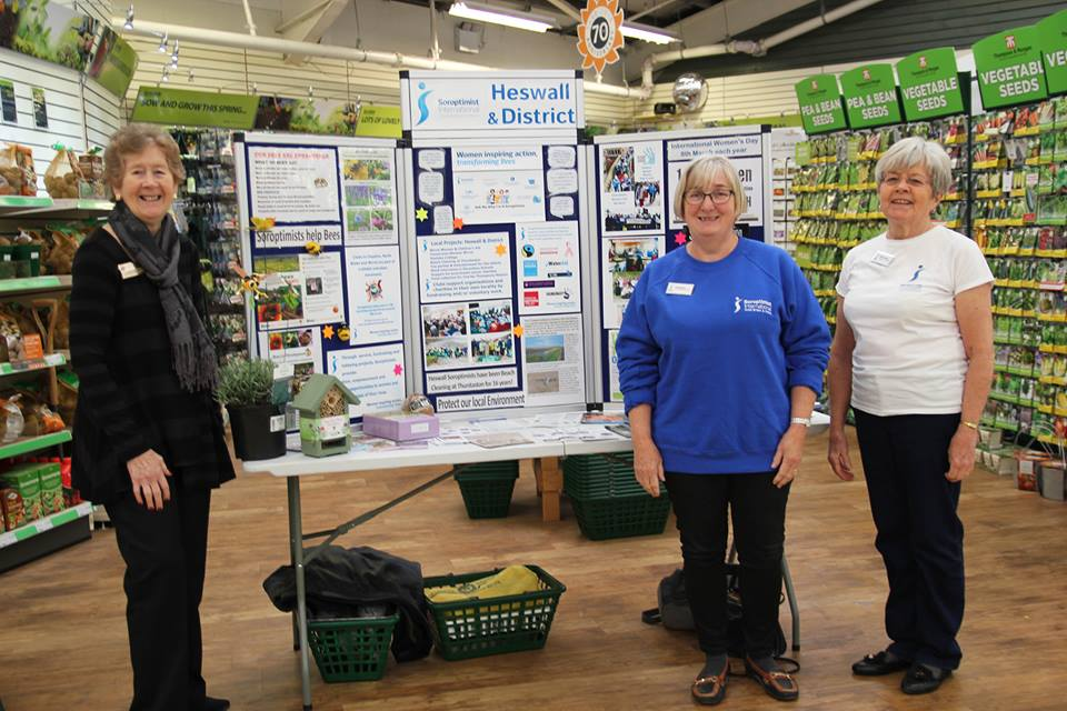 Soroptimist Heswall with a display at Gordale Garden Centre for IWD