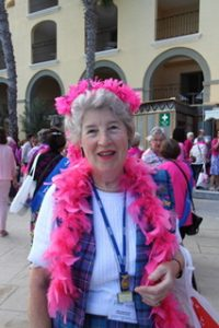 "Margaret in pink for the ""Pink around the pool"" event in Malta"