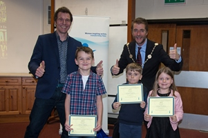 Mayor of Cirencester Mark Harris with our author Christopher Edge with some of our winners