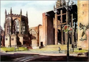 Jane Powell  Coventry Cathedral    Watercolour.