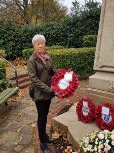 Soroptimist lays poppy wreath at Alexandra Park Crosby war memorial
