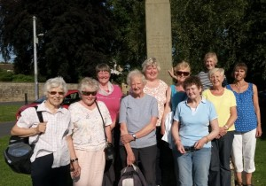 Some of the walkers on Gainford Village Green.