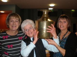 Pauline, Sylvia and June with the Nepalese water pot