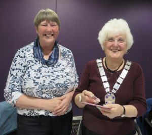 Dorothy and Alma, who received her Past President's badge.