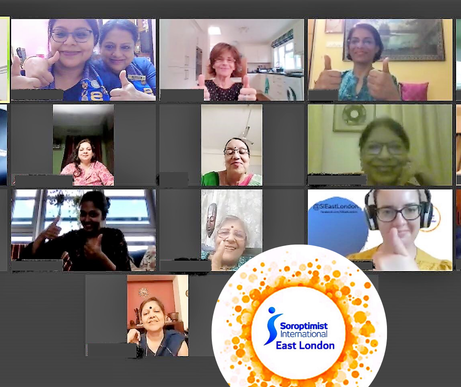 Soroptimist East London and Soroptimist Calcutta Meet Up online in June 2020