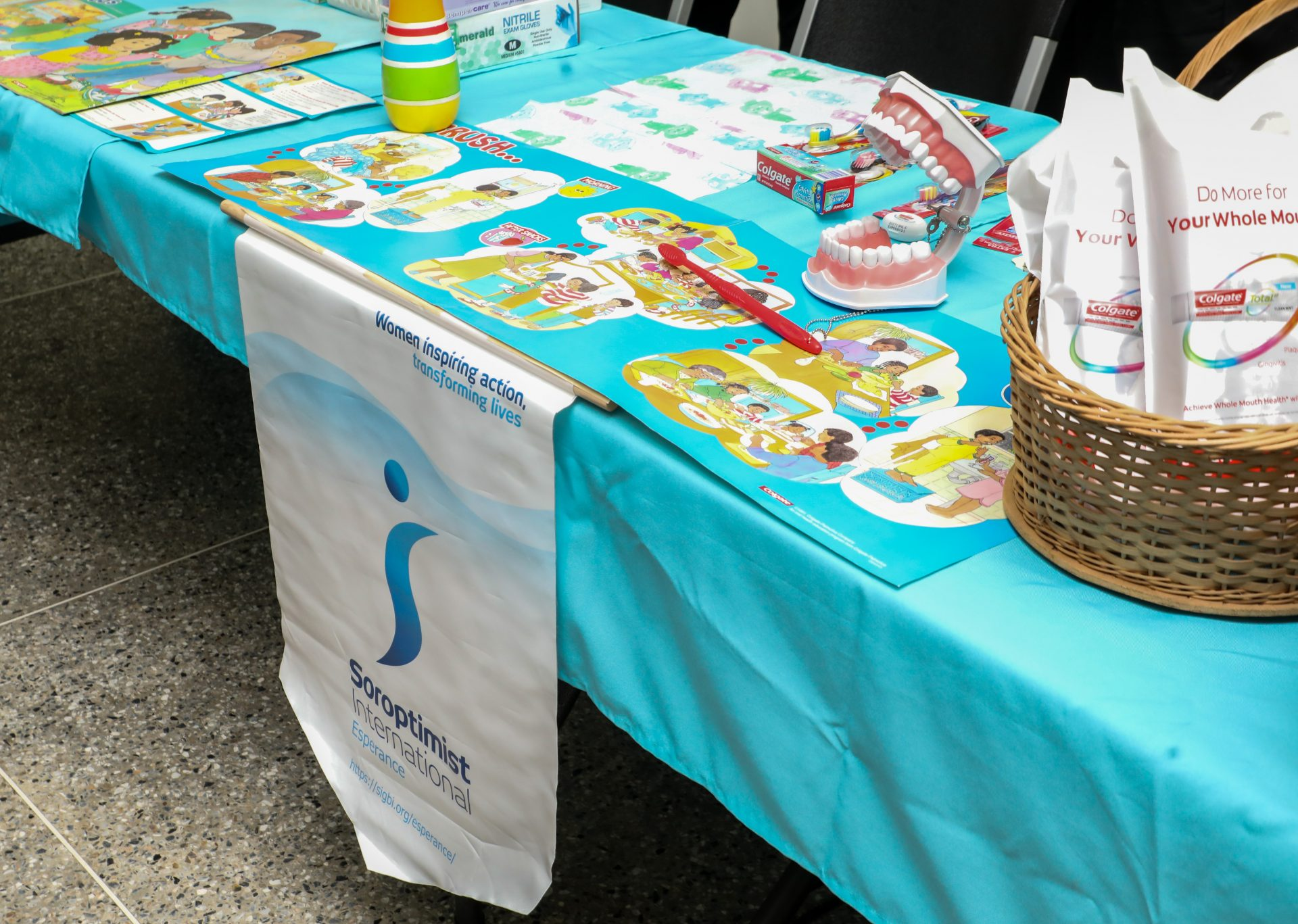 The Soroptimist presentation was attractive and child-centred, with gift bags which included dental essentials and activity sheets for reinforcement.