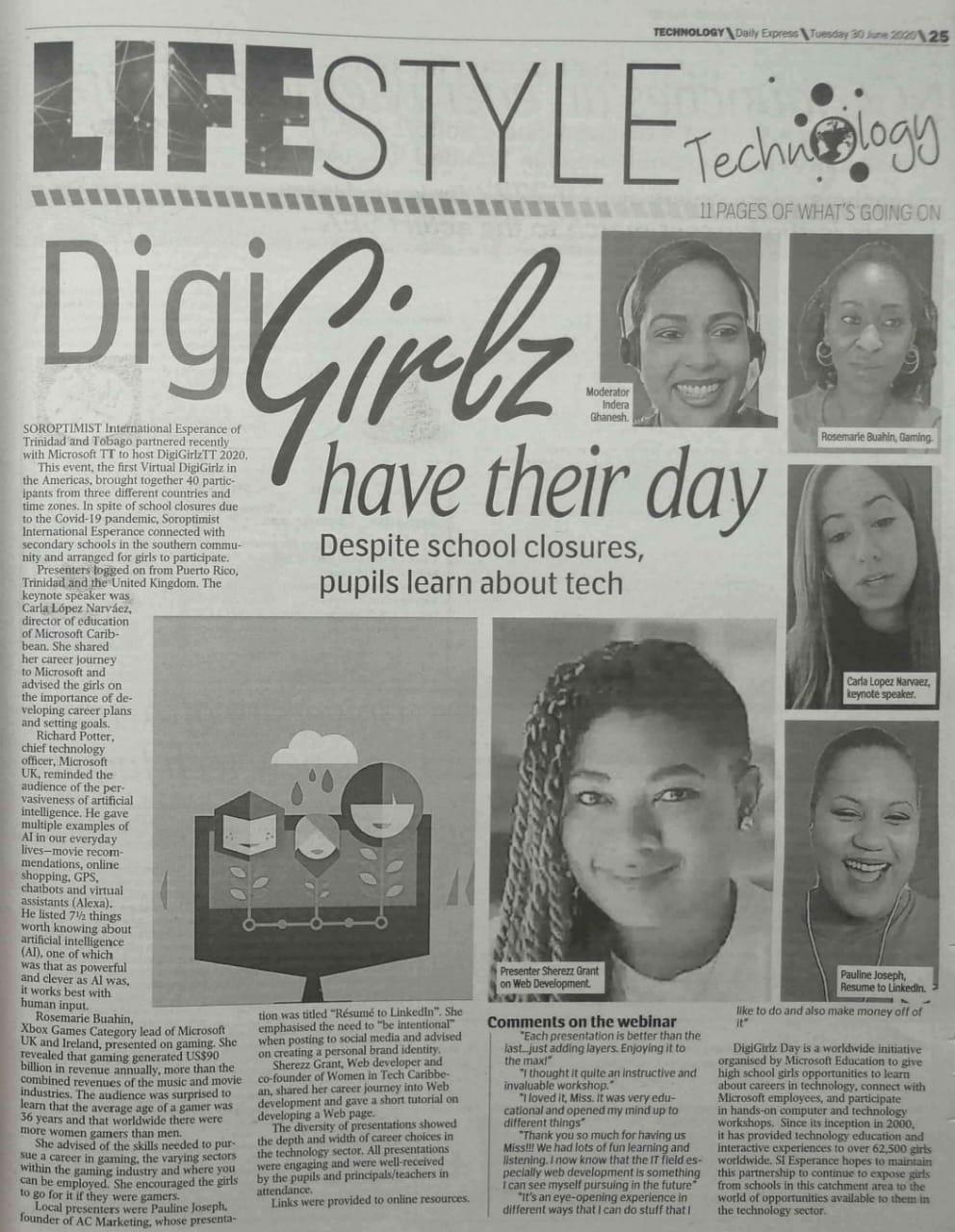 DigiGirlz, Daily Express, June 30th, 2020