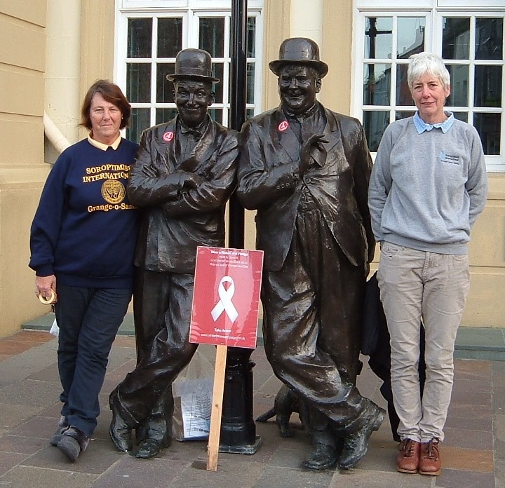 Laurel and Hardy supporting the White Ribbon Campaign 2014