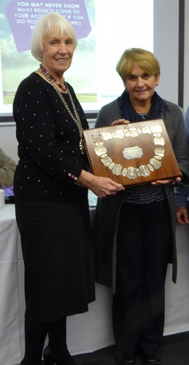 Regional President Margaret presenting the Darwen Shield to Jane  PA Officer SI Grange