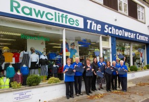Club members with the book bags donated by Rawcliffes School outfitter.