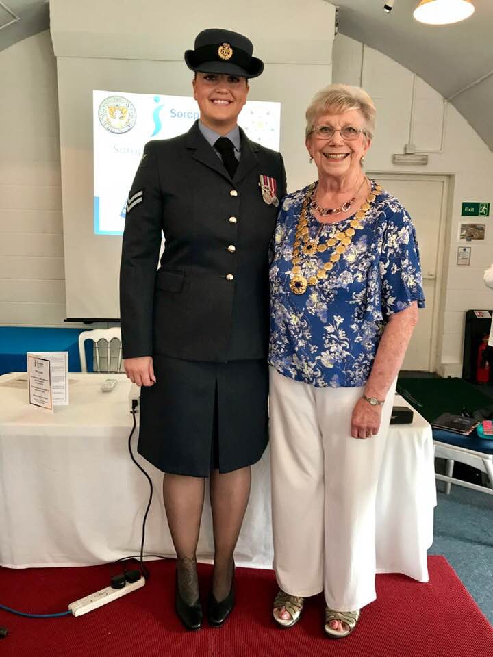 Corporal Katherine Height with Yorkshire President Pat Kilbane