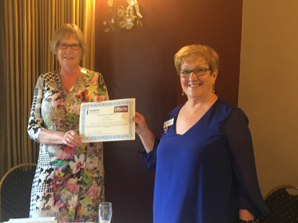 Pat receives #Whoisshe award from President Sandra