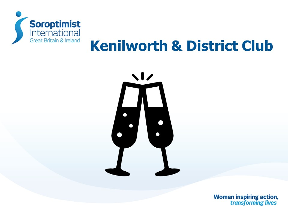 outline of two champagne flutes on Soroptimist powerpoint slide