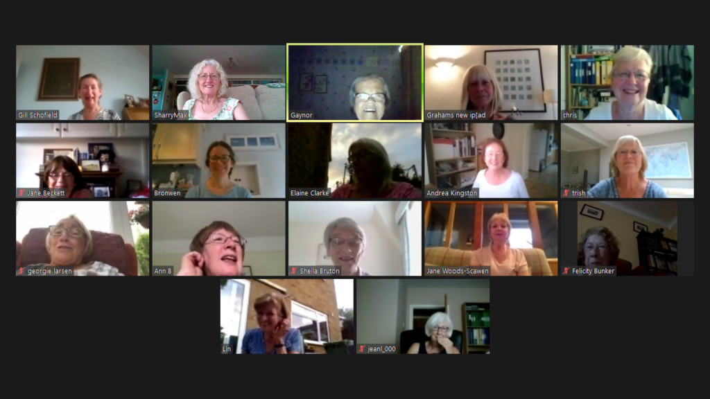 Screen shot of Soroptimists enjoying a quiz night via Zoom