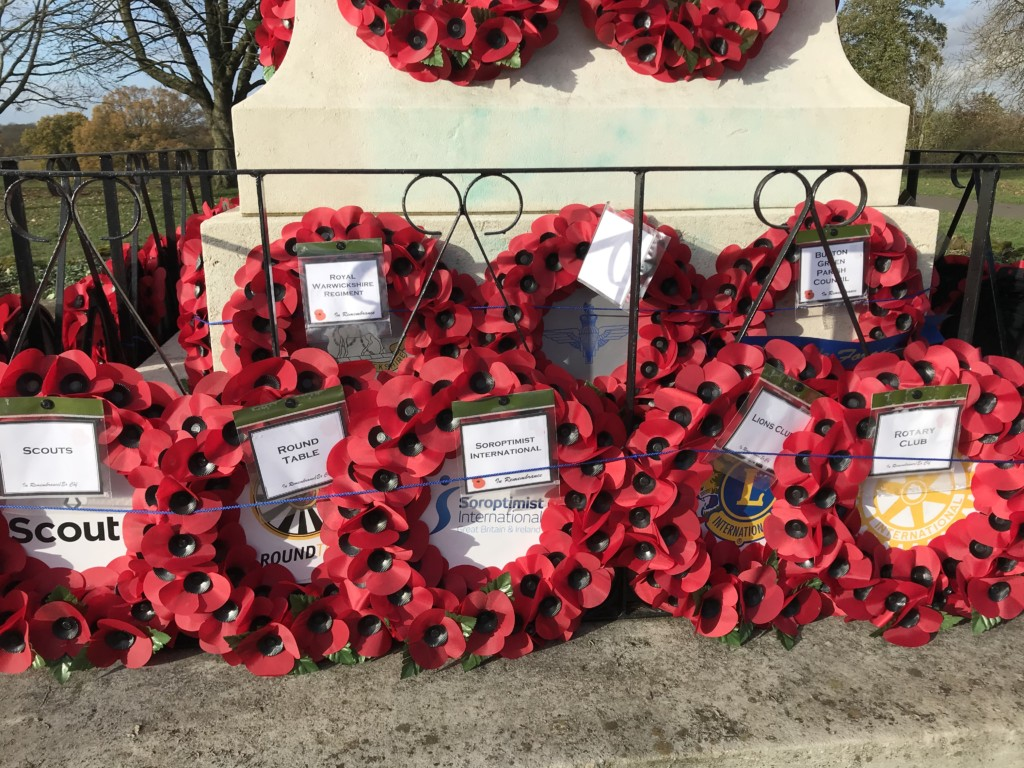 Poppy wreaths at Kenilworth War Memorial