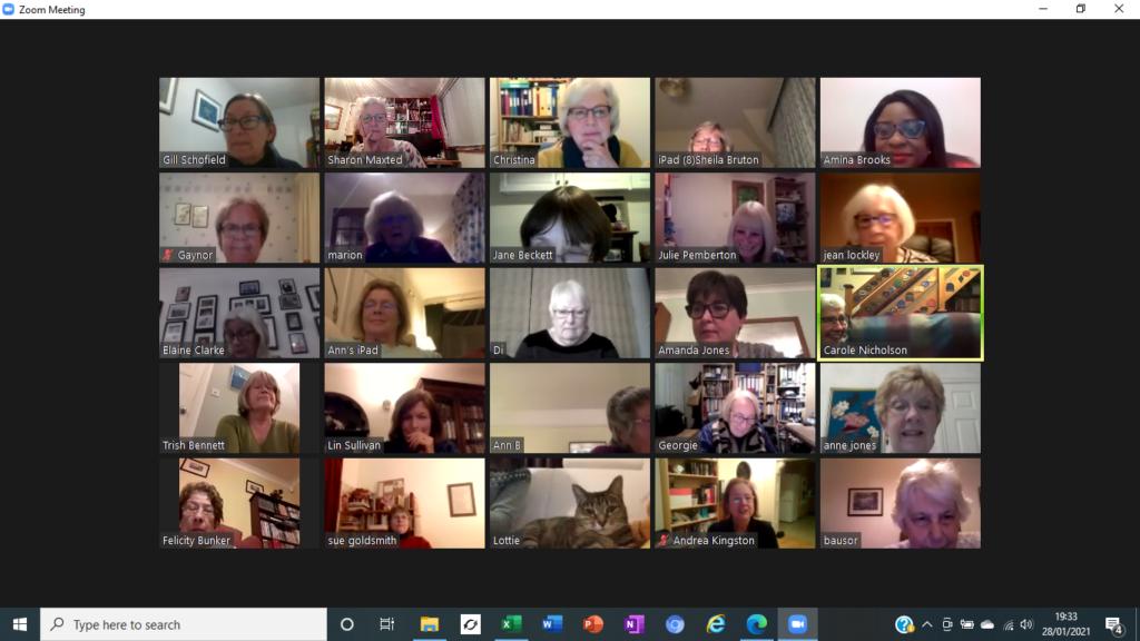 Screenshot of Club members at Zoom Business meeting