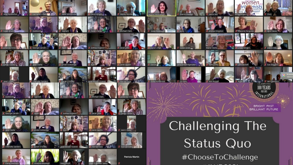 Collage of women's faces saluting for #ChooseTo Challenge IWD 2021