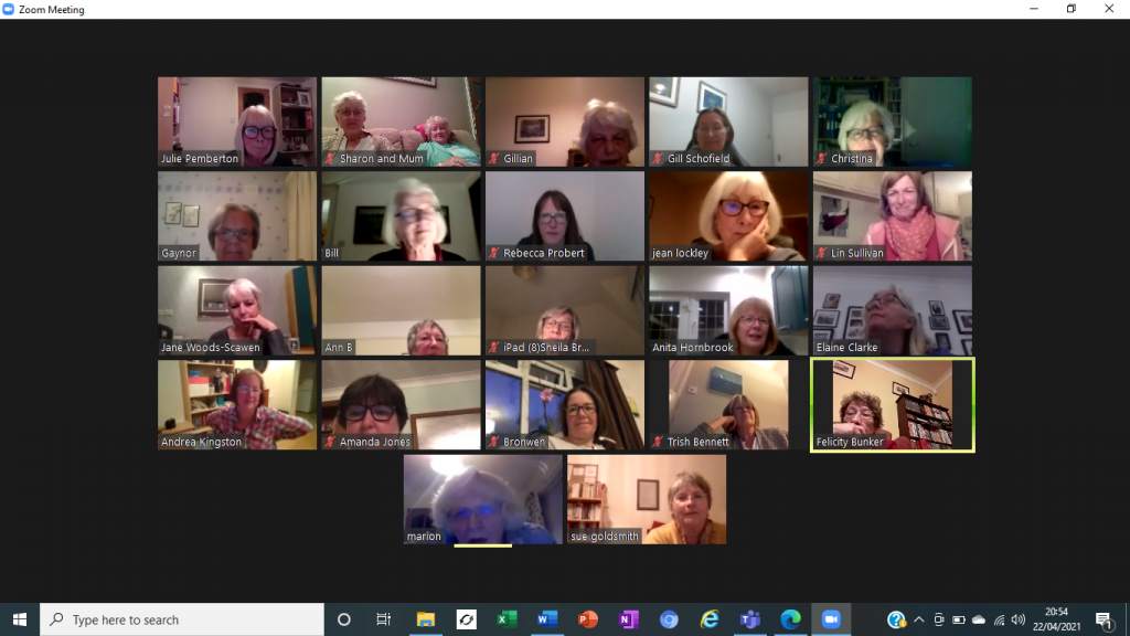Screenshot of Zoom meeting with women's faces