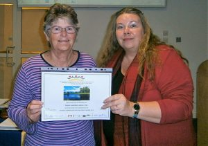 Val and Gill with Garden award 2