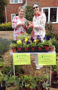 Plant stall with Ghyslaine and Carolyn