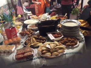 A table of food with and international favour
