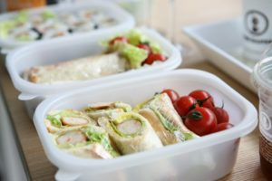 Plastic lunch box containing healthy food