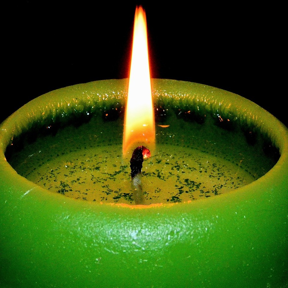 Green Christmas candle