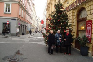 Hilary. Sandra and pat admire a Christmas Tree street decoration.