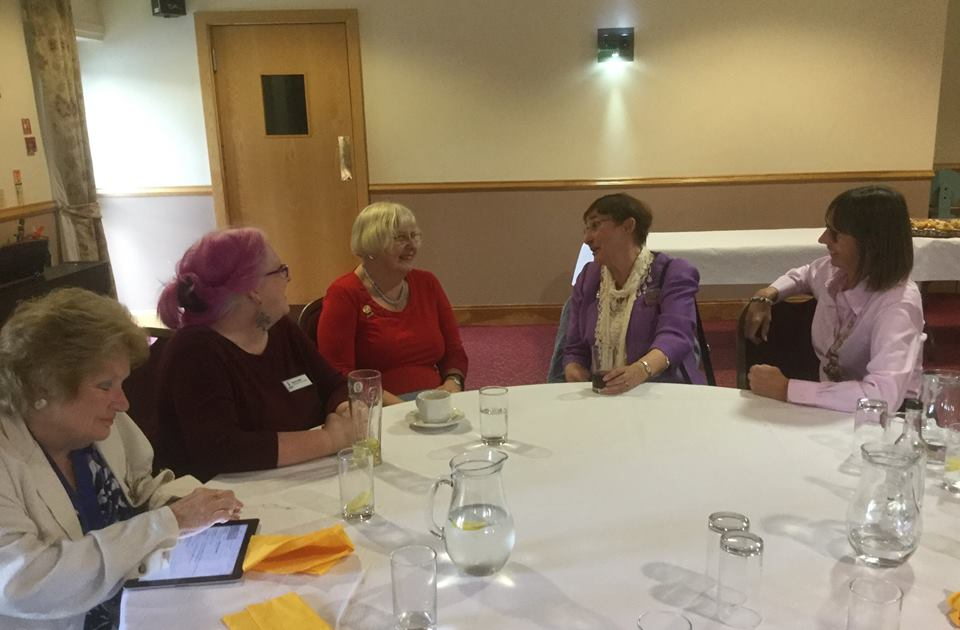 Members enjoying lunch with Soroptimist International Director of Advocacy Pat Black