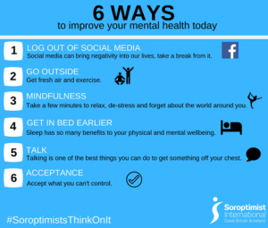 Infographic showing ways to improve mental health