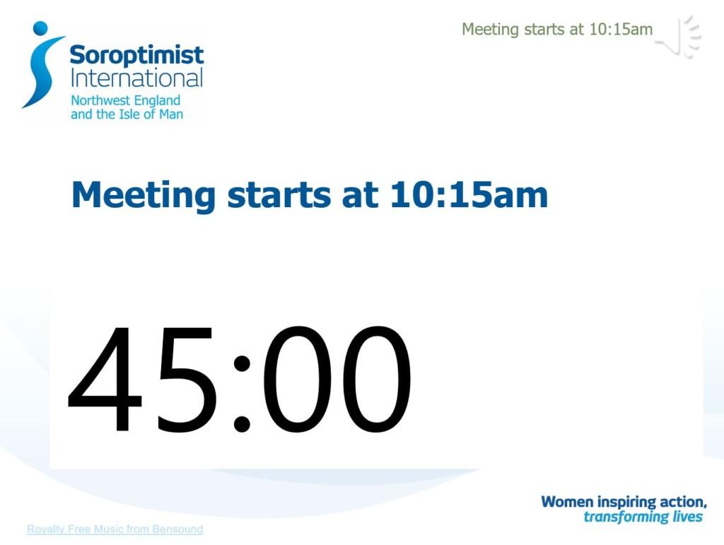 Regional Meeting startup screen