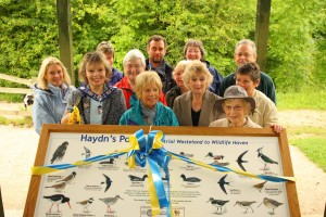 The Interpretation Panel at Haydn's Pool, Anderton Nature Park, made possible through a generous donation from the Club