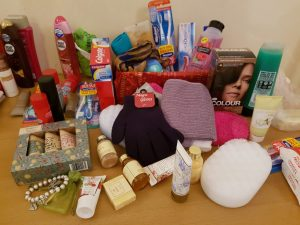 Picture of goods donated to Project Shoebox