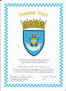 Certificate of Appreciation Renfrewshire Council
