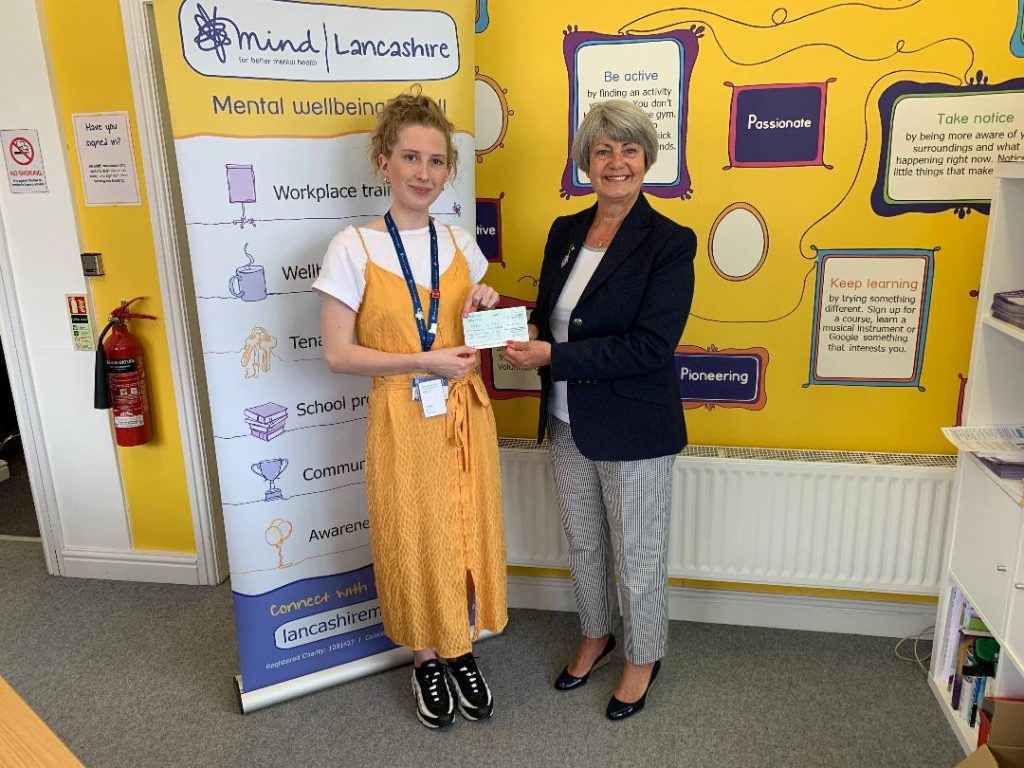 Presentation of the cheque to M.I.N.D Lancashire