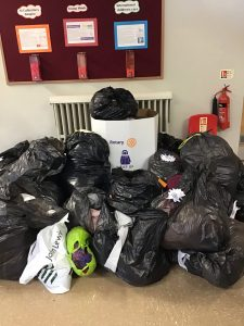 Bags of donated clothes for the Wrap Up Lancashire Priject.