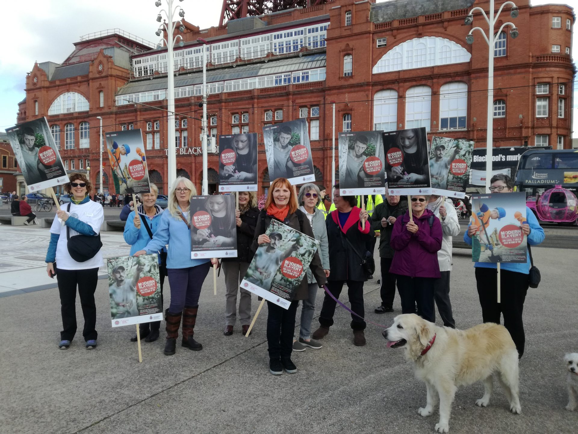 Members from the region {and dogs!) off on a march to raise awareness of human trafficking.