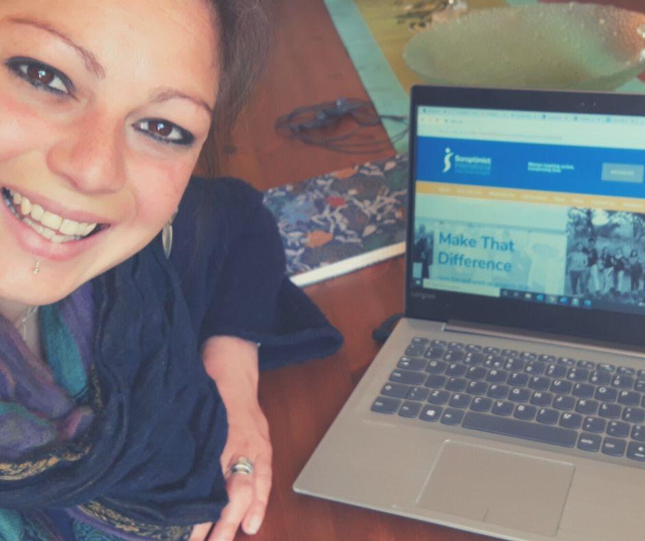 Rachel working on the new SIGBI website.