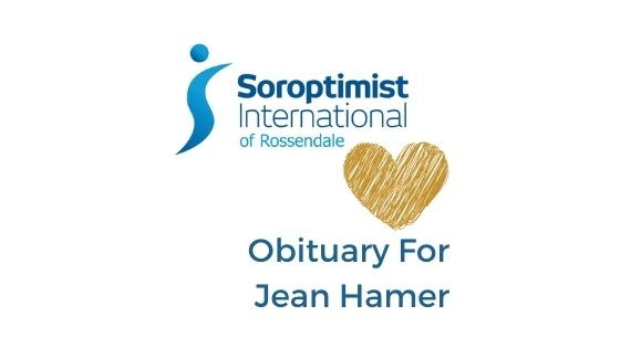 Title graphic for blog post that is an obituary for Jean Hamer, who was a member of SI Rossendale and passed away in 2019.