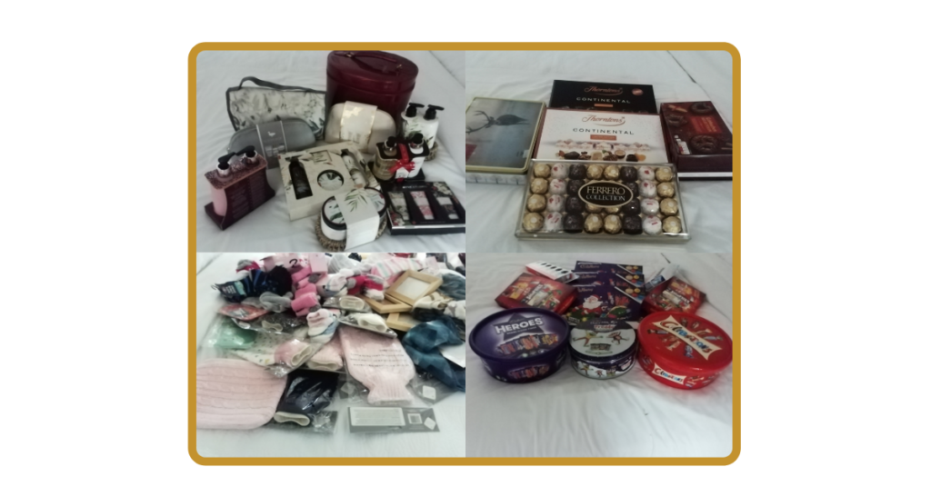 A pictures of some of the donations for the womens refuge