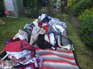 pile of donated bras